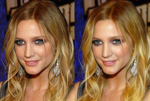 celebrities before and after photoshop, Ashlee simpson