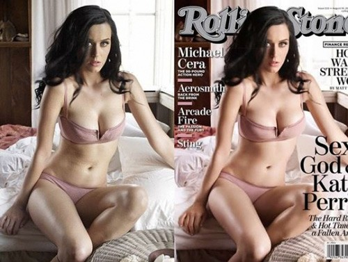 celebrities before and after photoshop, Katy Perry, Rolling Stone