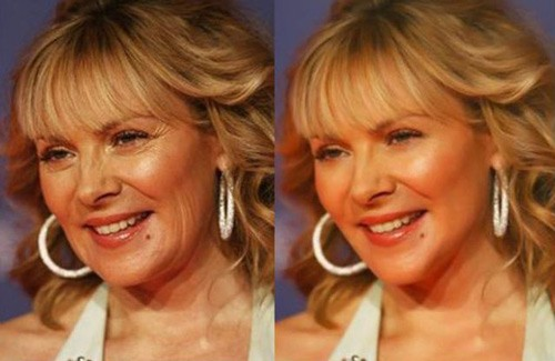 celebrities before and after photoshop, Kim Cattrall