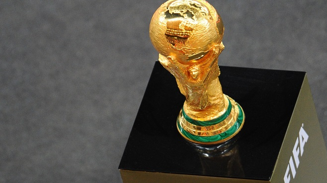 The World Cup trophy is pictured during