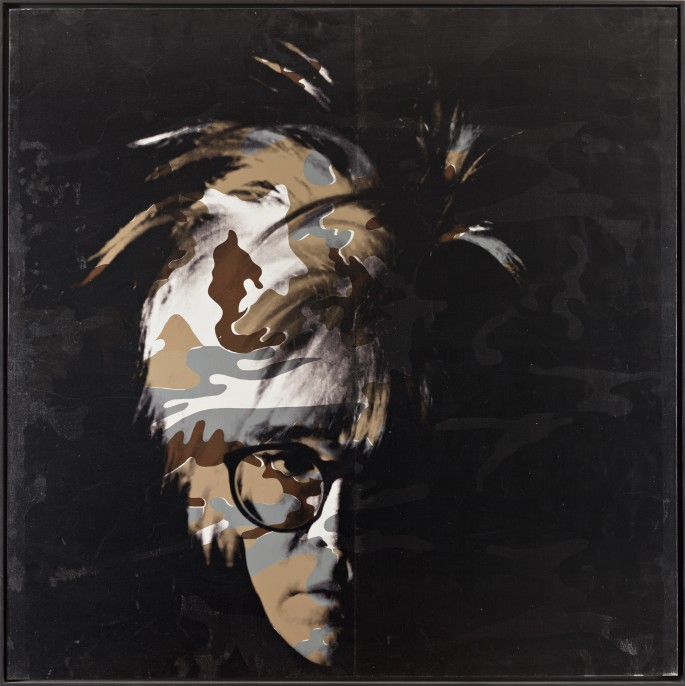 Andy Warhol, Camouflage Self- Portrait , 1986. Synthetic polymer paint and silkscreen on canvas, Wadsworth Atheneum Museum of Art, Hartford, Conn. The Ella Gallup Sumner and Mary Catlin Sumner Collection Fund, with a partial gift of The Andy Warhol Foundation for the Visual Arts, Inc., 1994.12.1. © 2014 The Andy Warhol Foundation for the Visual Arts, Inc./Artists Rights Society (ARS), New York