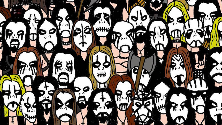 can you find the panda in this epic drawing of black metal musos