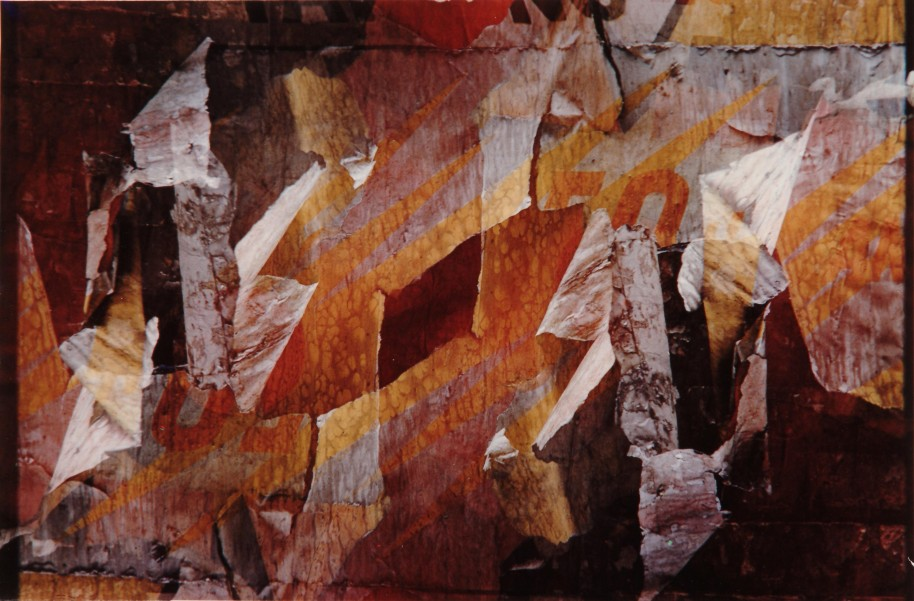 Harry Callahan, Peeling paint and paper, c. 1977 (printed 1980-81), dye transfer print, 8 11/16 x 13 7/8 in., Collection of the Akron Art Museum, Gift of Soraya Betterton 2006.78