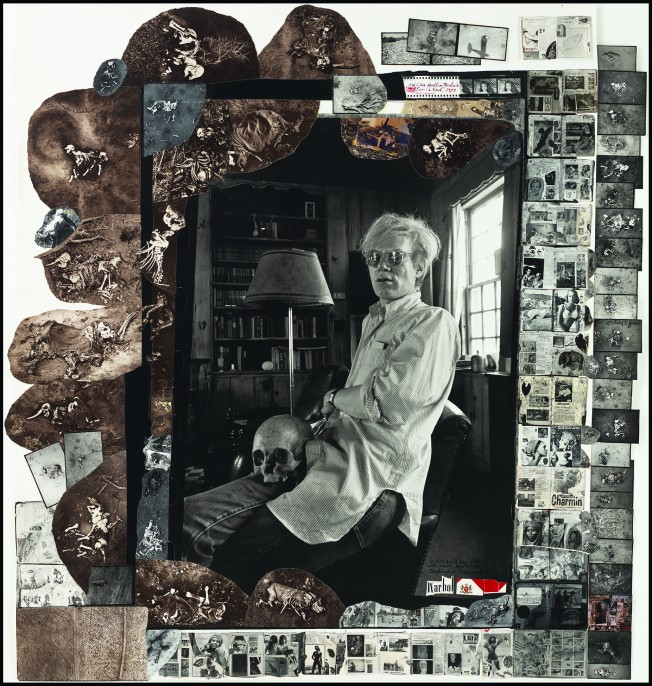 """Andy Warhol and his skull in Montauk, 1972/2003 Gelatin silver print with gelatin silver print and toned gelatin silver print collage, found objects, ink, 42 3/16 x 39 5/8"""""""