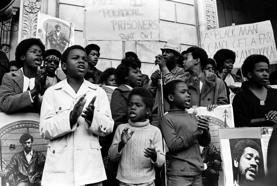 February, 1970 - San Francisco, California, USA: Children at a Free Huey, Free Bobby rally in front of the Federal Building. (Stephen Shames/Polaris)
