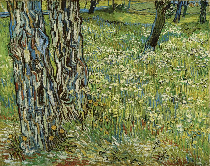 Vincent van Gogh (1853–1890), Tree Trunks in the Grass, late April 1890, oil on canvas, 28 9/16 x 36 in. (72.5 x 91.5 cm), Collection Kröller-Müller Museum, Otterlo, KM 100.189