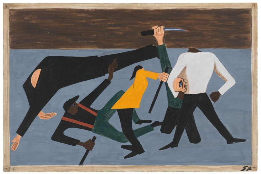 """Jacob Lawrence. The Migration Series. 1940-41. Panel 52: """"One of the largest race riots occurred in East St. Louis."""" 1941. Casein tempera on hardboard, 18 x 12″ (45.7 x 30.5 cm). The Museum of Modern Art, New York. Gift of Mrs. David M. Levy. © 2015 The Jacob and Gwendolyn Knight Lawrence Foundation, Seattle / Artists Rights Society (ARS), New York. Digital image © The Museum of Modern Art/Licensed by SCALA / Art Resource, NY"""