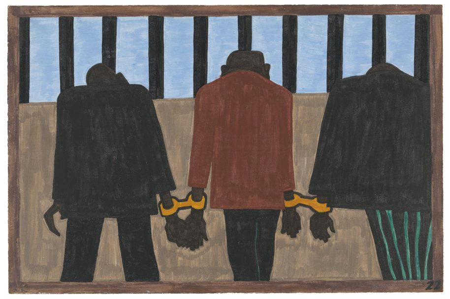 """Jacob Lawrence. The Migration Series. 1940-41. Panel 22: """"Another of the social causes of the migrants' leaving was that at times they did not feel safe, or it was not the best thing to be found on the streets late at night. They were arrested on the slightest provocation."""" Casein tempera on hardboard, 18 x 12″ (45.7 x 30.5 cm). The Museum of Modern Art, New York. Gift of Mrs. David M. Levy. © 2015 The Jacob and Gwendolyn Knight Lawrence Foundation, Seattle / Artists Rights Society (ARS), New York. Digital image © The Museum of Modern Art/Licensed by SCALA / Art Resource, NY"""