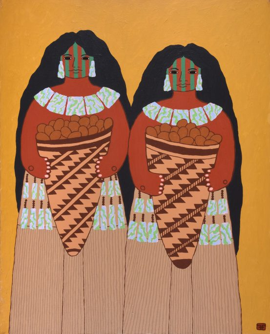 Harry Fonseca (Nisenan Maidu, Hawaiian, Portuguese, 1946–2006). A Gift From California, circa 1979. Acrylic on canvas. Museum purchase, Autry Museum.