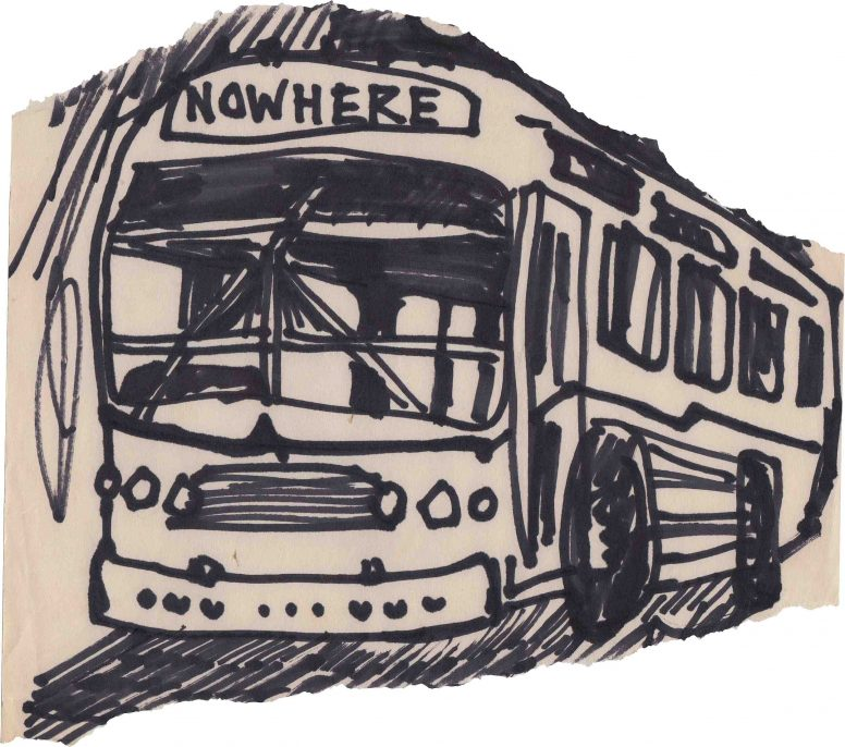 "Early 1977. Jamie Reid's sketch of ""Nowhere Bus"" for an unpublished second issue of ""Anarchy in the U.K."""