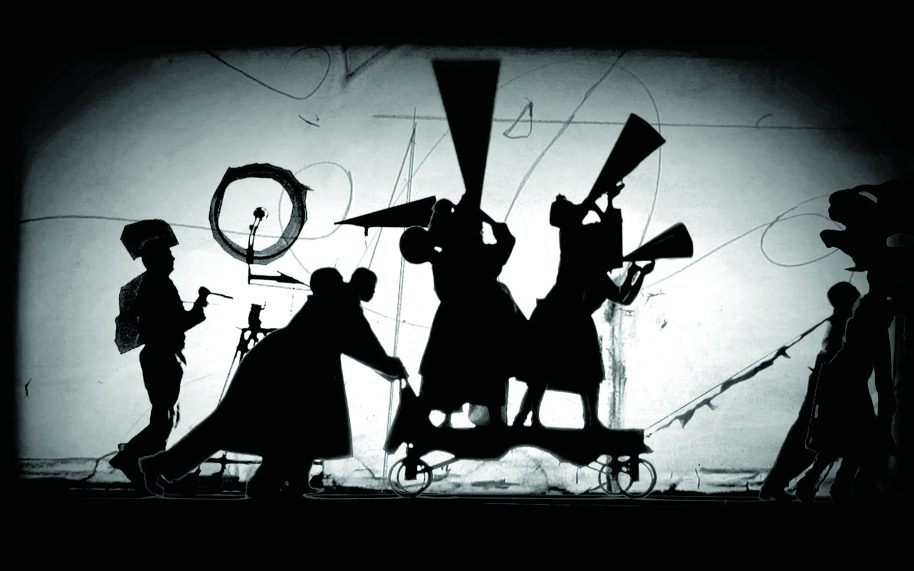 William Kentridge, The Refusal of Time with collaboration of Philip Miller, Catherine Meyburgh and Peter Galison, Film Still 2012, 5-channel video projection, colour, sound, megaphones, breathing machine 30 minutes