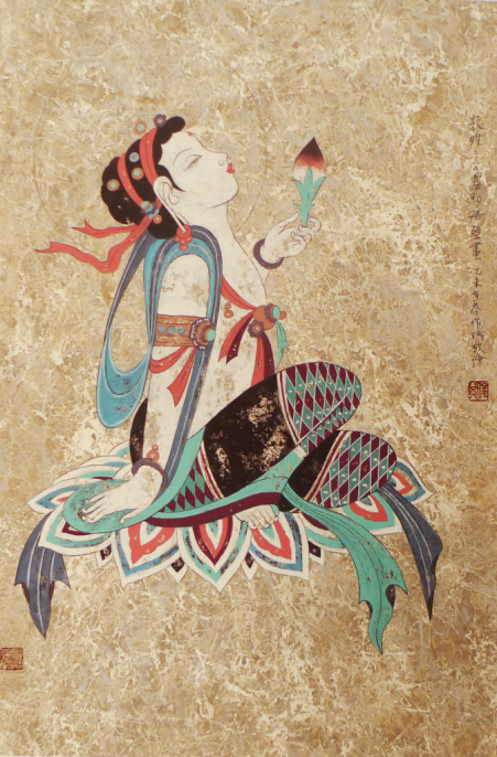 Liu Junqi, Bodhisattva Holding a Lotus Bud (Mogao Cave 220,. Early Tang Dynasty). Mineral pigment on paper. 33 x 22 inches