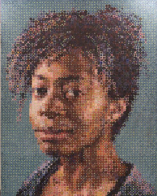 86th Street: Chuck Close, Subway Portraits. Ceramic tile fabricated by Magnolia Editions, Glass and ceramic mosaic fabricated by Mosaika Art & Design.