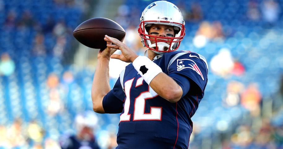 Tom Brady #12 of the New England Patriots warms up prior to a preseason game. (Photo by Maddie Meyer/Getty Images)