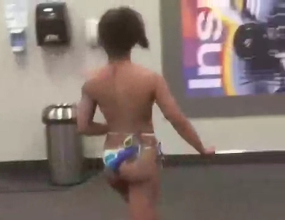 woman strips naked at gym1