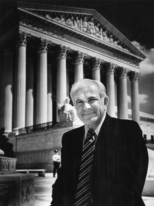 "Judge Joseph Wapner of the ""People's Court"" TV program poses for a portrait in front of the Supreme Court building in Washington, DC on May 10, 1984. (Photo by Gerald Martineau/The Washington Post via Getty Images)"