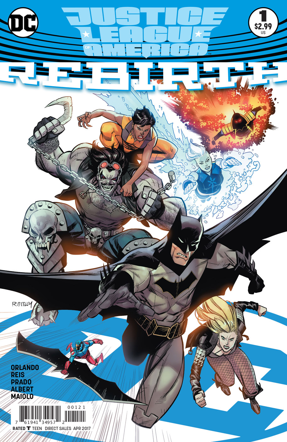 Justice League of America Rebirth 1 open order variant cover