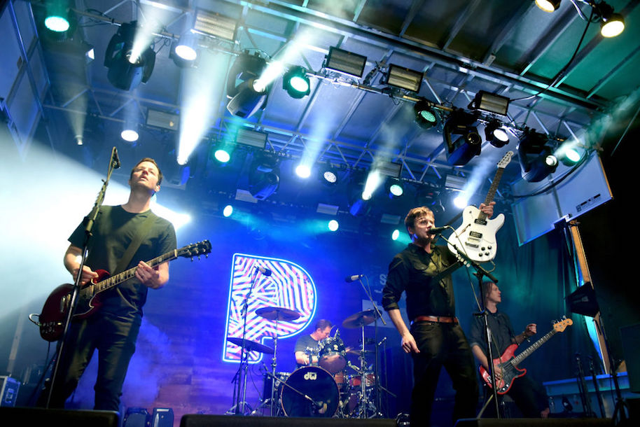 AUSTIN, TX - MARCH 15: Musicians Jim Adkins, Tom Linton, Rick Burch and Zach Lind of Jimmy Eat World perform onstage during Pandora at SXSW 2017 on March 15, 2017 in Austin, Texas. (Photo by Vivien Killilea/Getty Images for Pandora)