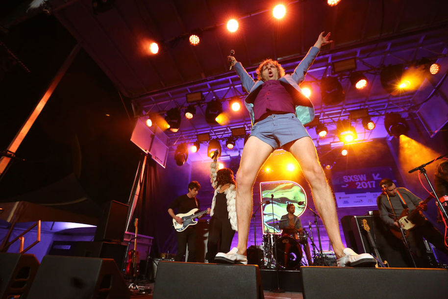 AUSTIN, TX - MARCH 13: Nic Offer of !!! (Chk Chk Chk) performs onstage at the Pandora Party during 2017 SXSW Conference and Festivals at The Gatsby on March 13, 2017 in Austin, Texas. (Photo by Diego Donamaria/Getty Images for SXSW)