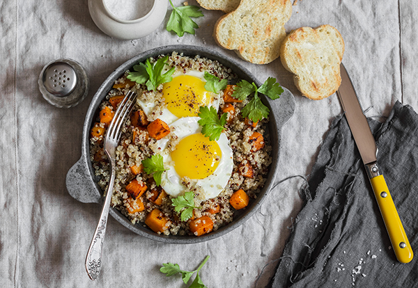 Best post workout meal: eggs with sweet potatoes and quinoa