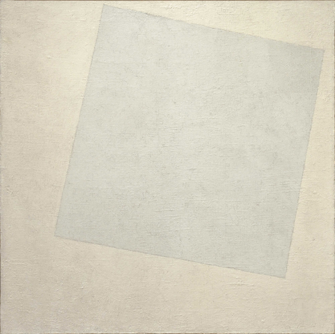 Kazimir Malevich, Suprematist Composition: White on White, 1918, oil on canvas, 31.3 x 31.3 inches, on view at the Museum of Modern Art. Courtesy of Wikimedia Commons.