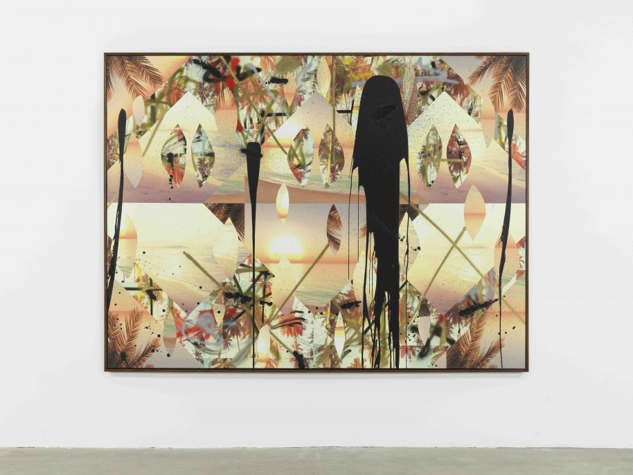 Rashid Johnson. Untitled Beach Collage, 2017, Vinyl, spray enamel, oil stick, black soap, and wax. 183 x 244 x 5 cm / 72 x 96 1/8 x 2 in.