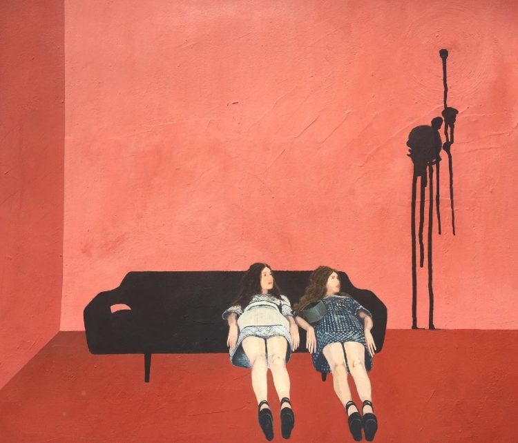 Lindsey Way – Waiting Room, gouache, flash paint on illustration board, 25×22″, framed under museum glass, $2,800, Sold.