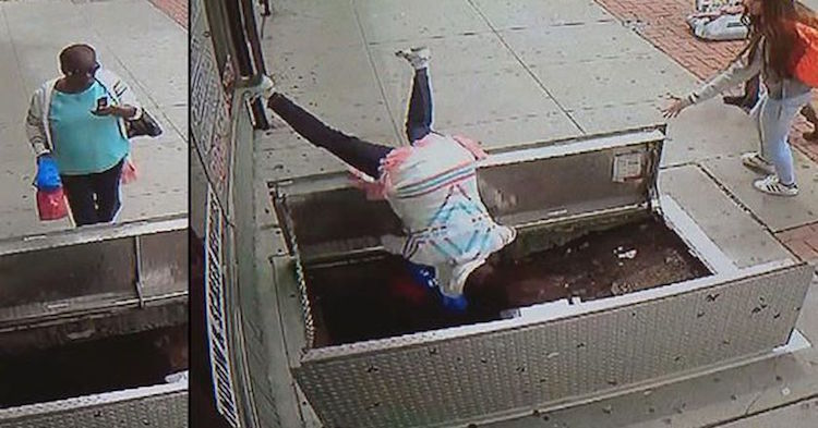 Cellphone & Lady Falls Down Open Basement Door While On Cellphone