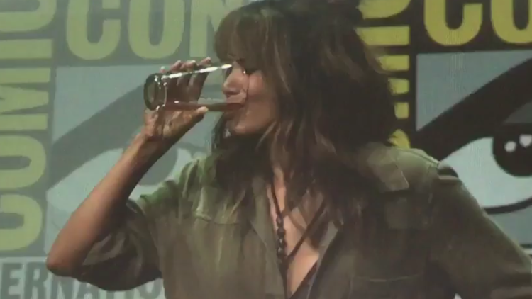 halle berry chugs whiskey comic-con