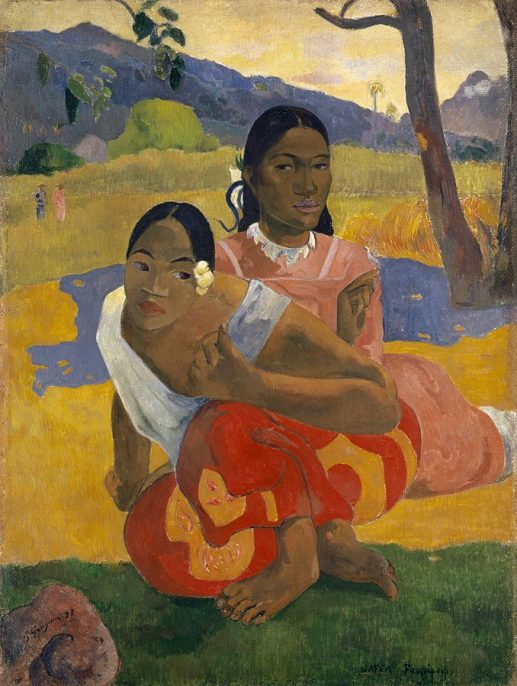 Paul Gauguin. When Will You Marry? (French: Quand te maries-tu?, Tahitian: Nafea faa ipoipo), 1892. Oil on canvas, 101 x 77 cm. © Private Collection. Courtesy of Wikimedia Commons.