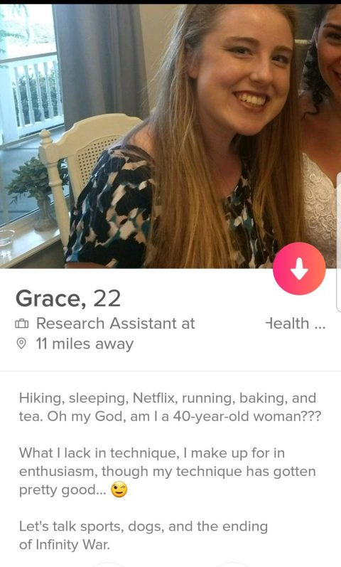 Chicks' funny Tinder bios