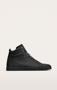 HIGH TOP SNEAKERS WITH EMBOSSED SNAKESKIN EFFECT