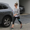 Ashley Greene at her gym in her lycra sportswear and a grey sports top carrying a bottle of Fiji water Featuring: Ashley Greene Where: Los Angeles, United States When: 17 Apr 2014 Credit: WENN.com