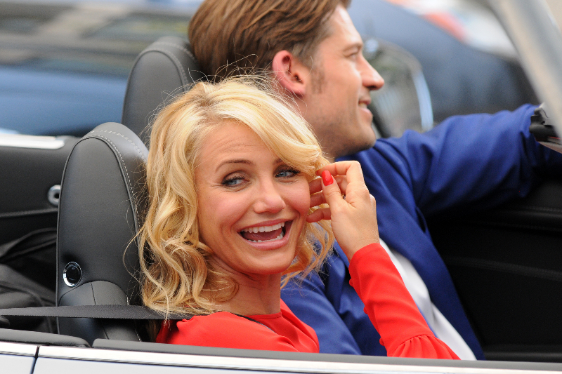 Cameron Diaz wears a red dress while filming on location
