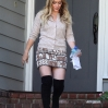 Hilary Duff walking in black thigh length boots as she leaves an Interpretation Class
