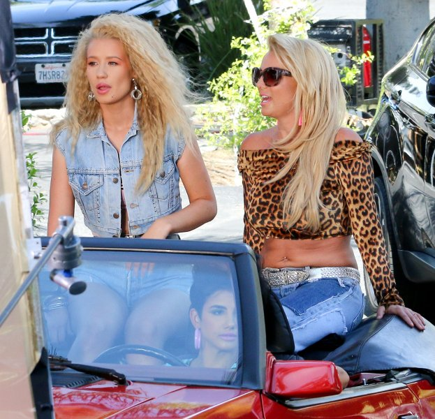 Britney Spears and Iggy Azalea shoot a scene for their highly anticipated new music video 'Pretty Girls,' in Studio City Featuring: Britney Spears, Iggy Azalea Where: Los Angeles, California, United States When: 09 Apr 2015 Credit: WENN.com