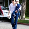 January Jones takes her son, Xander to have hair cut in Beverly Hills