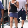 Jennifer Aniston outside her movie trailer between takes, on the set of 'Squirrels to the Nuts'