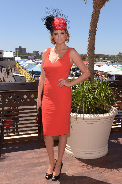 Kate Upton attends the Emirates marquee during Melbourne Cup Day