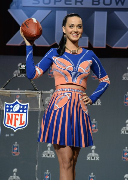 Super Bowl Halftime performer Katy Perry speaks onstage during the Pepsi Super Bowl XLIX Halftime Show Press Conference