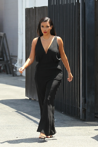 Kim Kardashian leaves a studio in Los Angeles to take her daughter for a doctor visit