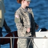 Kristen Stewart dressed in fatigues plays a military police officer on the first day of filming of her new film Camp X-Ray