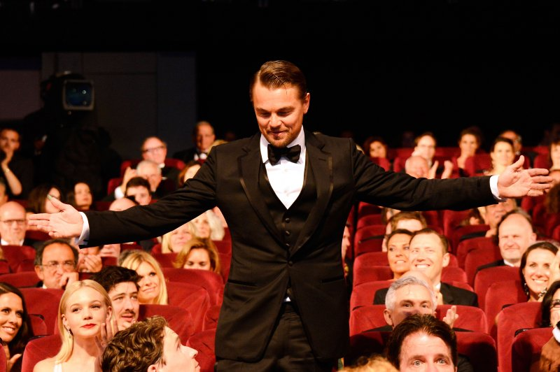 Leonardo DiCaprio joins the public during the Opening Ceremony of the 66th Annual Cannes Film Festival at the Palais des Festivals