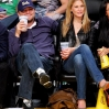 Bar Rafaeli (R) and Leonardo DiCaprio attend a game between the Oklahoma City Thunder and the Los Angeles Lakers at Staples Center