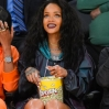 Rihanna attends a basketball game between the Cleveland Cavaliers and the Los Angeles Laker