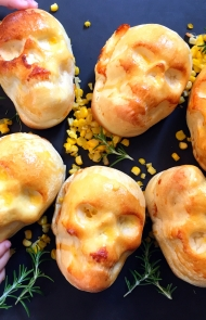 Cheesy Bread Skulls