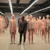 A model wears Kanye West Yeezy Season 2 during New York Fashion Week at Skylight Modern on September 16, 2015 in New York City.