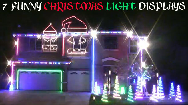 Follow us on Social Media - 7 Funny Christmas Light Displays - Mandatory