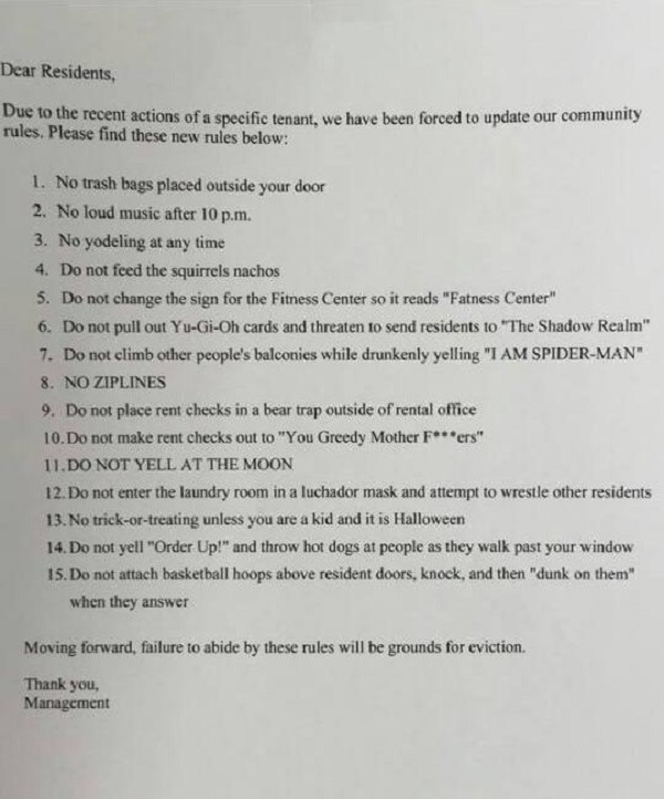 List To Rent: Landlord Posts Hilarious List Of Rules For Tenants