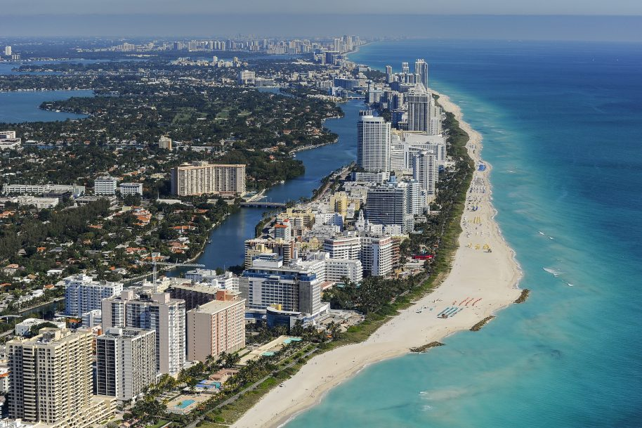 DORAL, FL - MARCH 8: An aerial view of Miami Beach and South Beach from the MetLife blimp. Photo by Chris Condon/PGA TOUR/MetLife Blimp.
